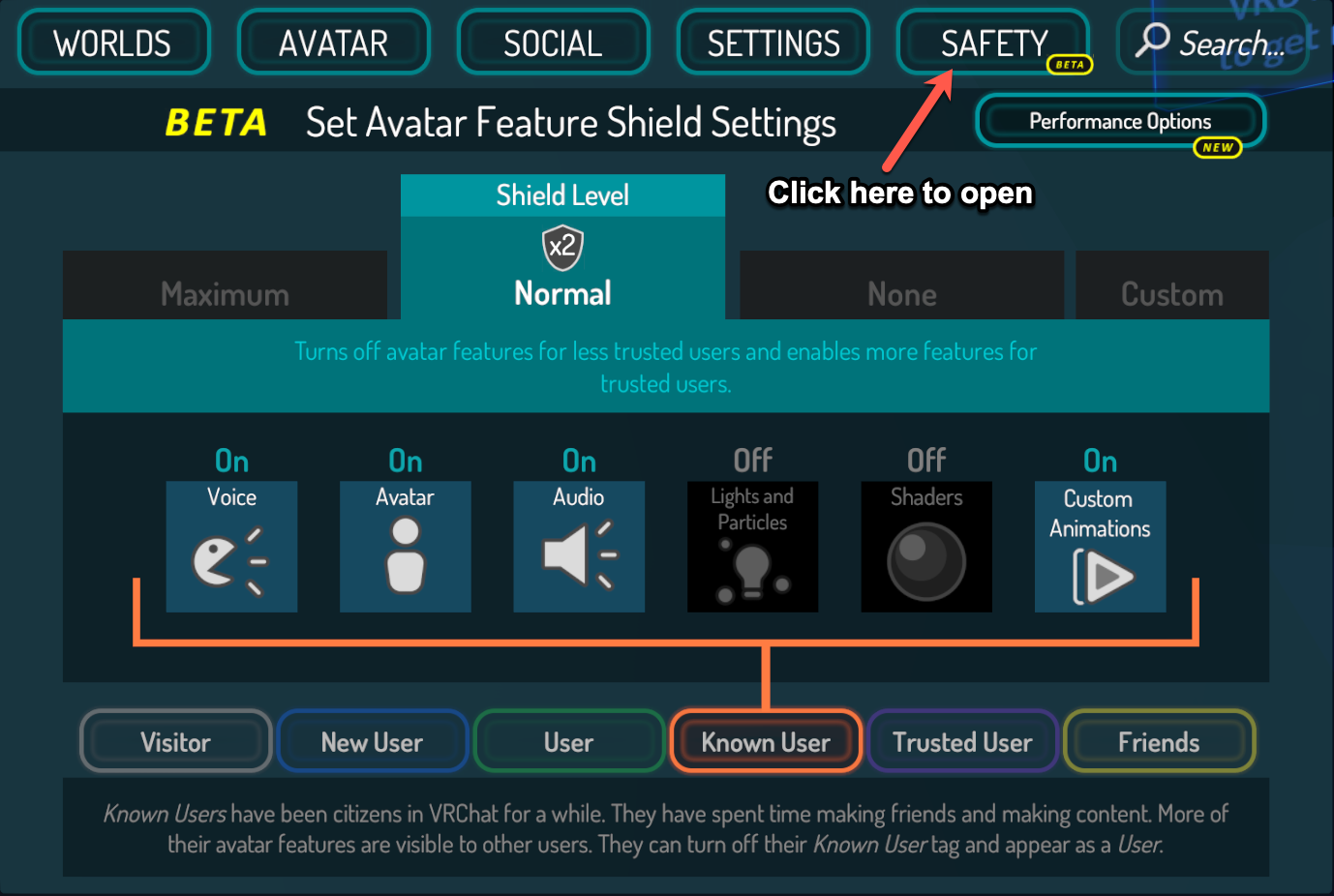screenshot of the player safety menu