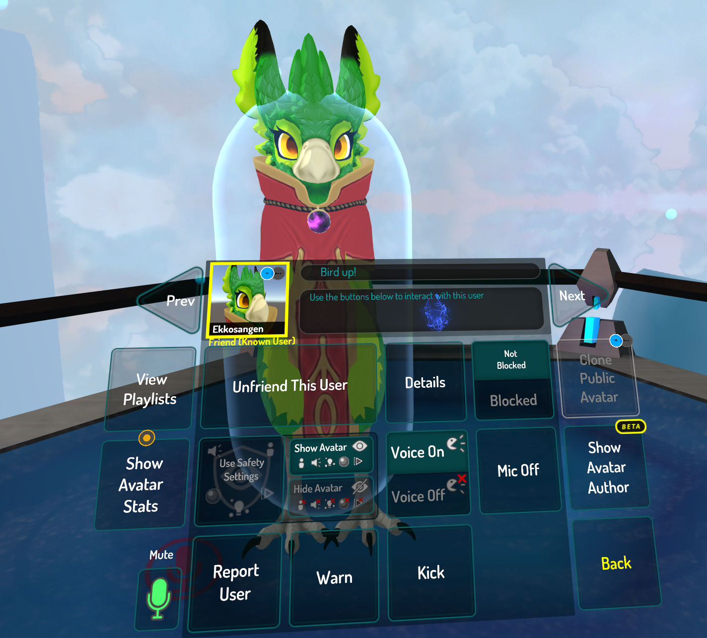screenshot of selecting a user in game